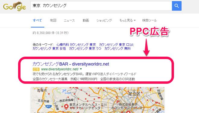 「東京 カウンセリング」の検索結果画像のPPC広告